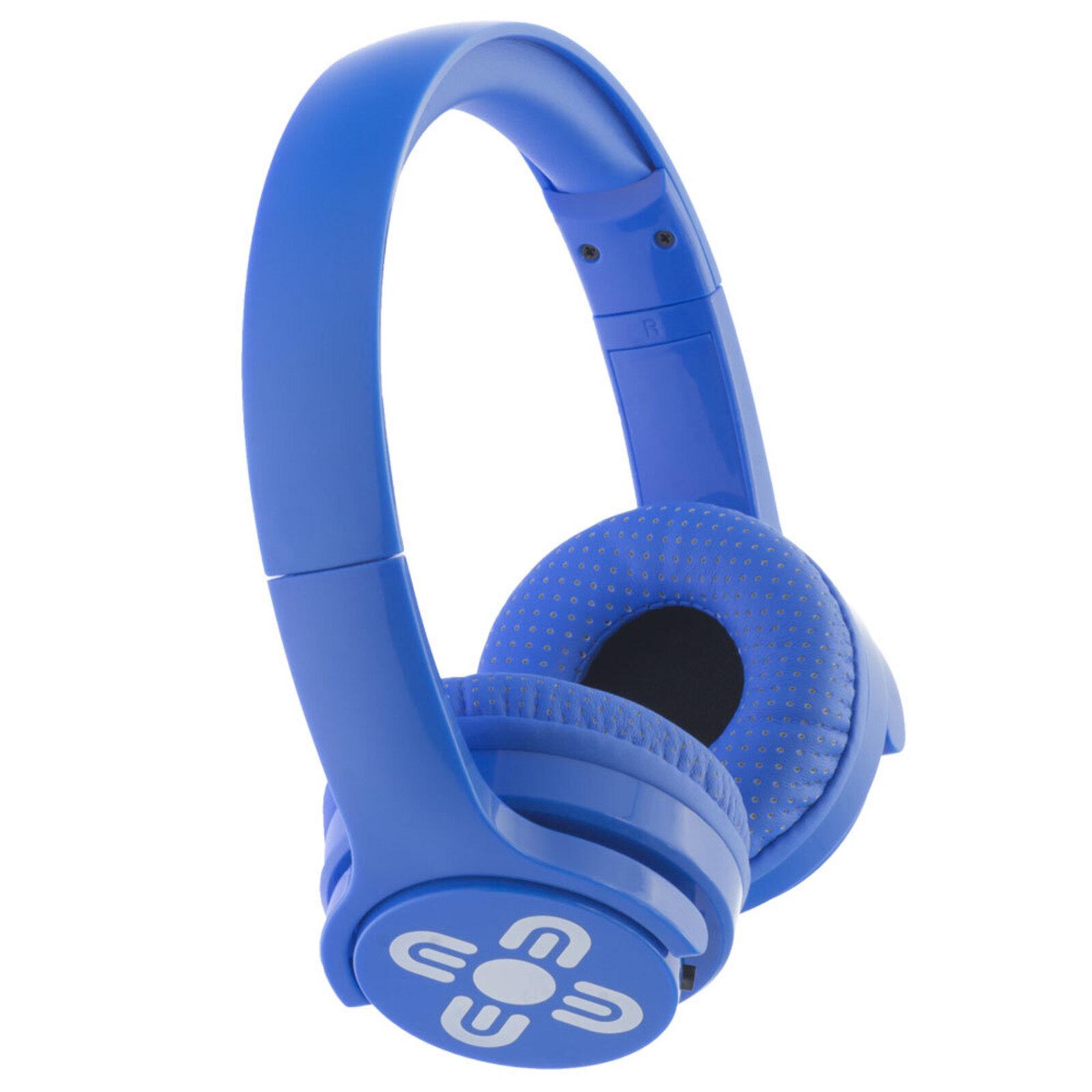 Moki Brites Wireless Bluetooth Adjustable Headphones Over-Ear Headset w/Mic/Blue