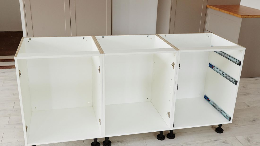 Three cabinet units joined together