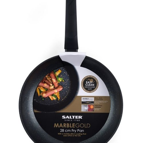 Salter 28cm Marble Frypan Gold Black Non-Stick Forged Aluminium Flat Bottomed