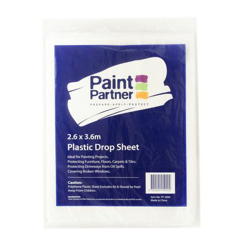 Paint Partner 2.6 x 3.6m Clear Plastic Drop Sheet
