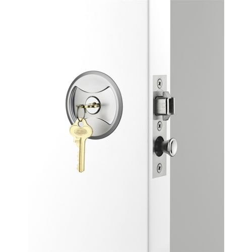 Lockwood Cavity Slider Entrance Set Satin Chrome Pearl
