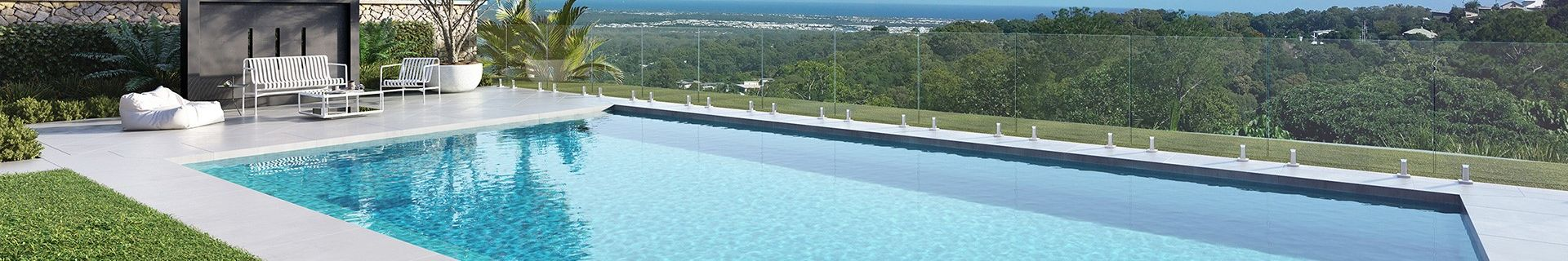 Pool with glass fence.