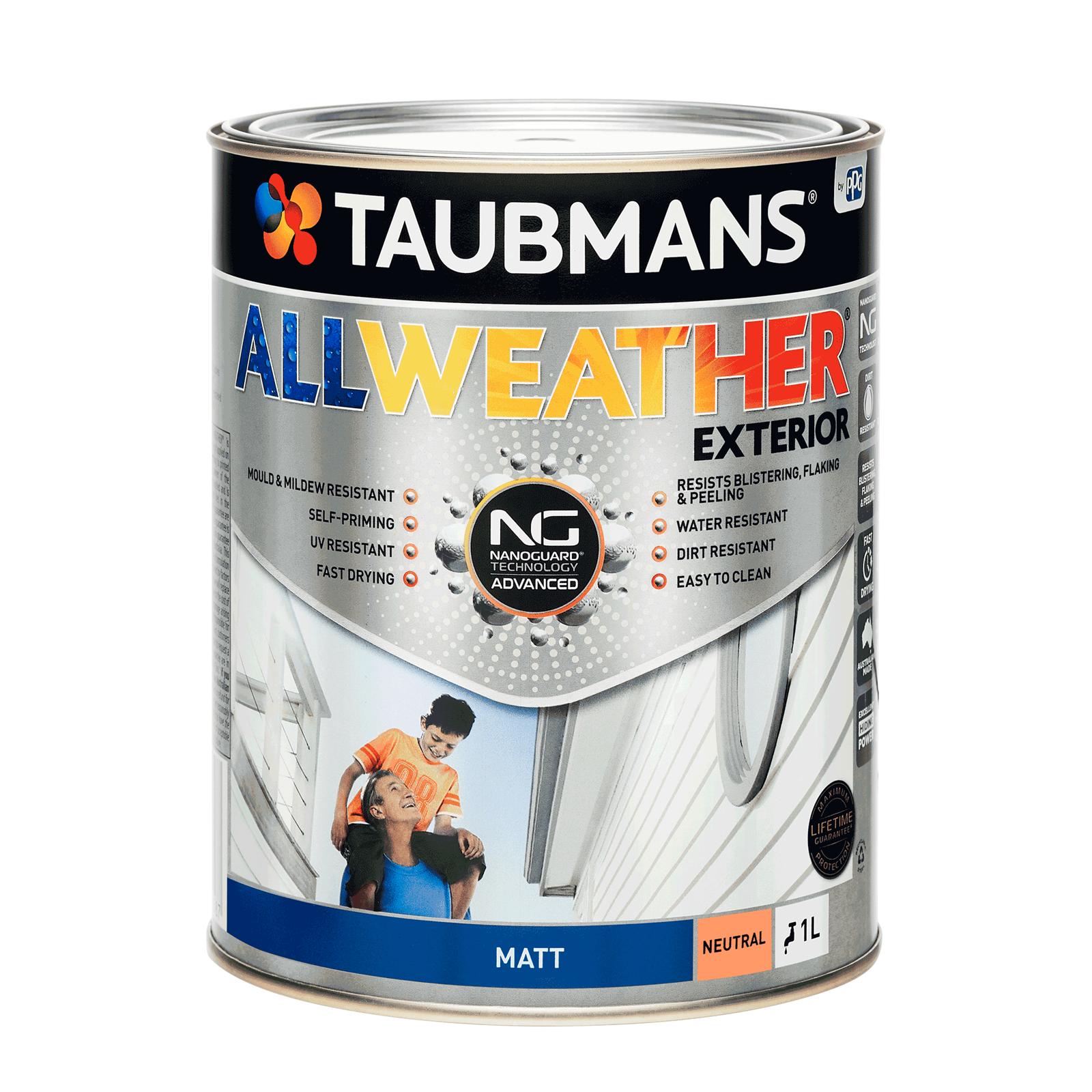 Taubmans 1L Neutral Matt All Weather Exterior Paint