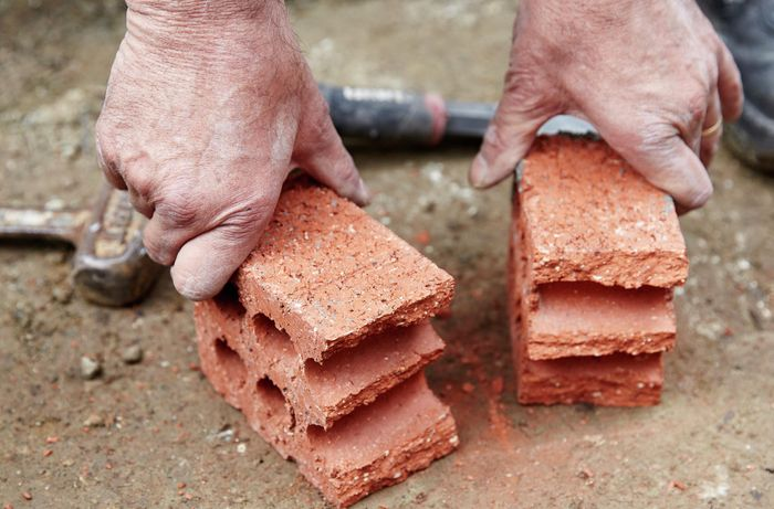 A brick that has been cut in half