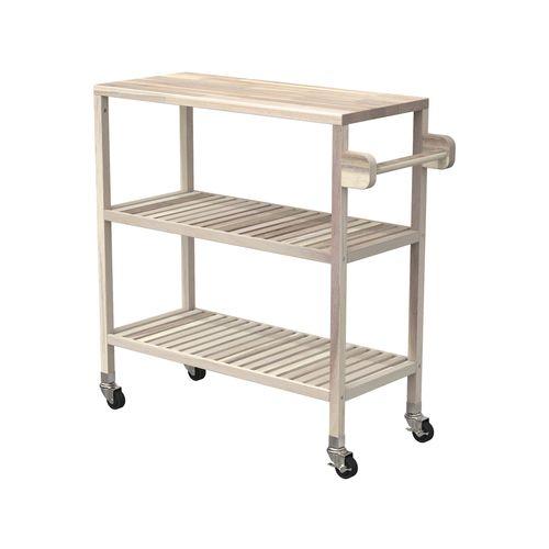 Interbuild 80 x 35 x 85cm Organic White Holger Turbo Kitchen Cart