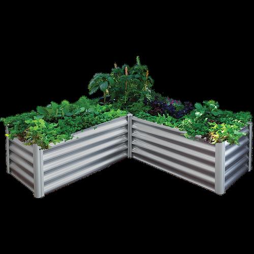 The Organic Garden Co 150 x 150 x 41cm Zincalume L-Shape Raised Garden Bed