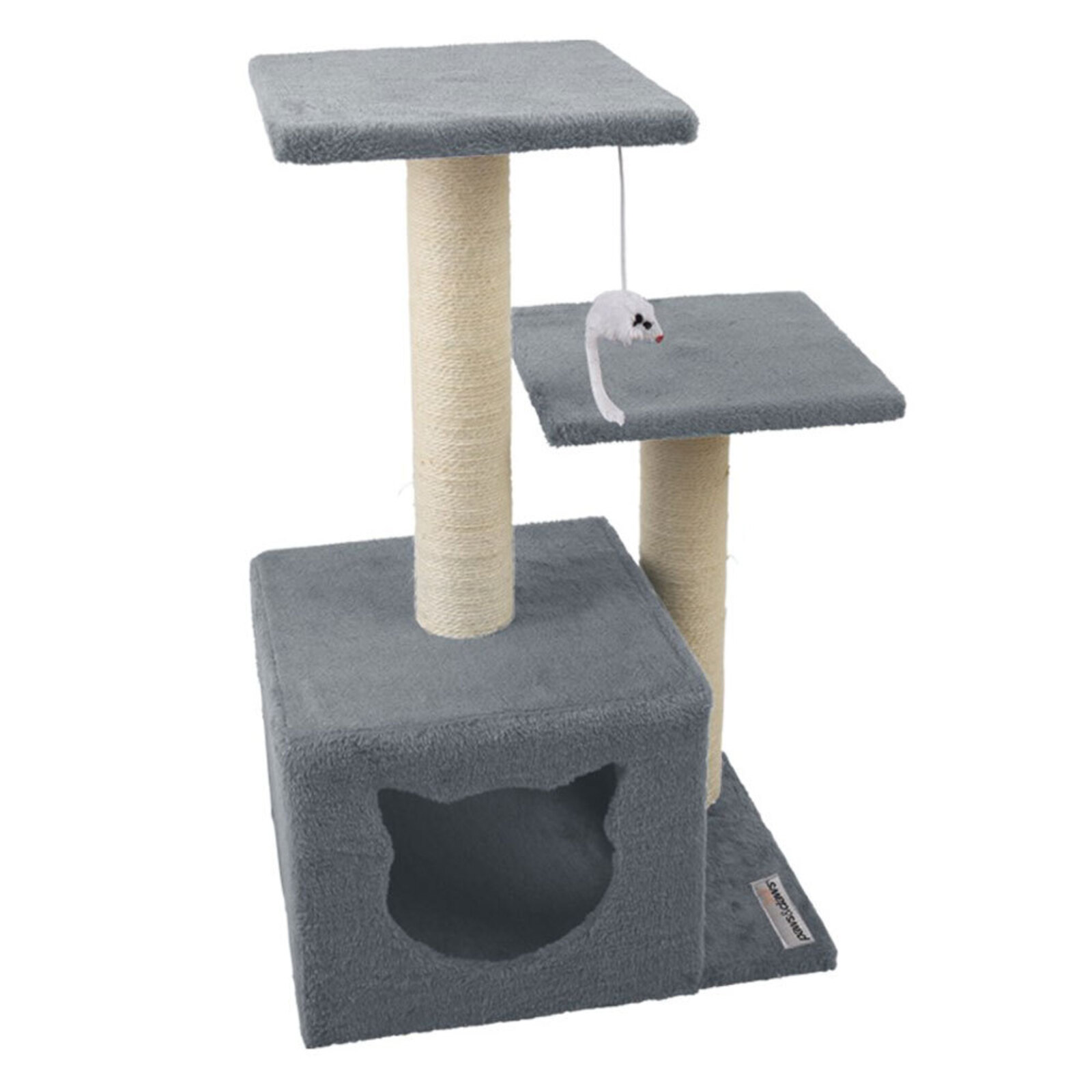 Paws & Claws 63cm Catsby Cats Sisal Scratching Double Platform Hideaway Tower - Assorted Colour