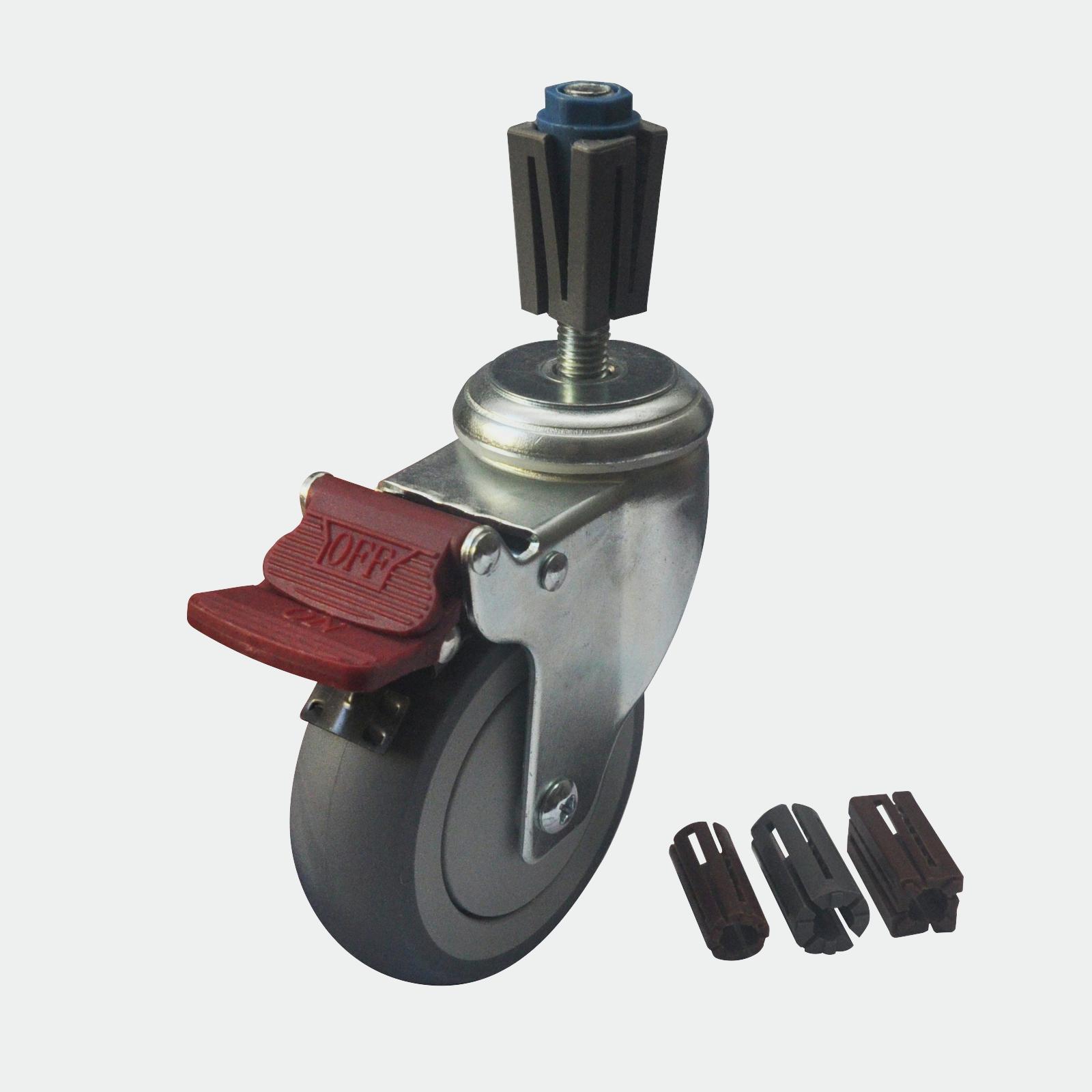 Castor Xpan Kit Easyroll 100mm Grey Rbr Brk 120kg 16020