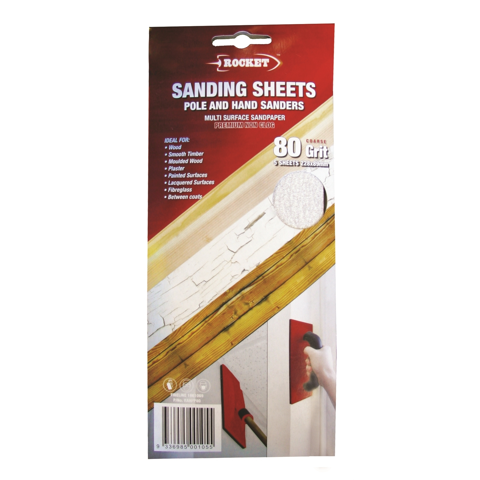 Rocket 80G Hand And Pole Sanding Sheet - 5 Pack