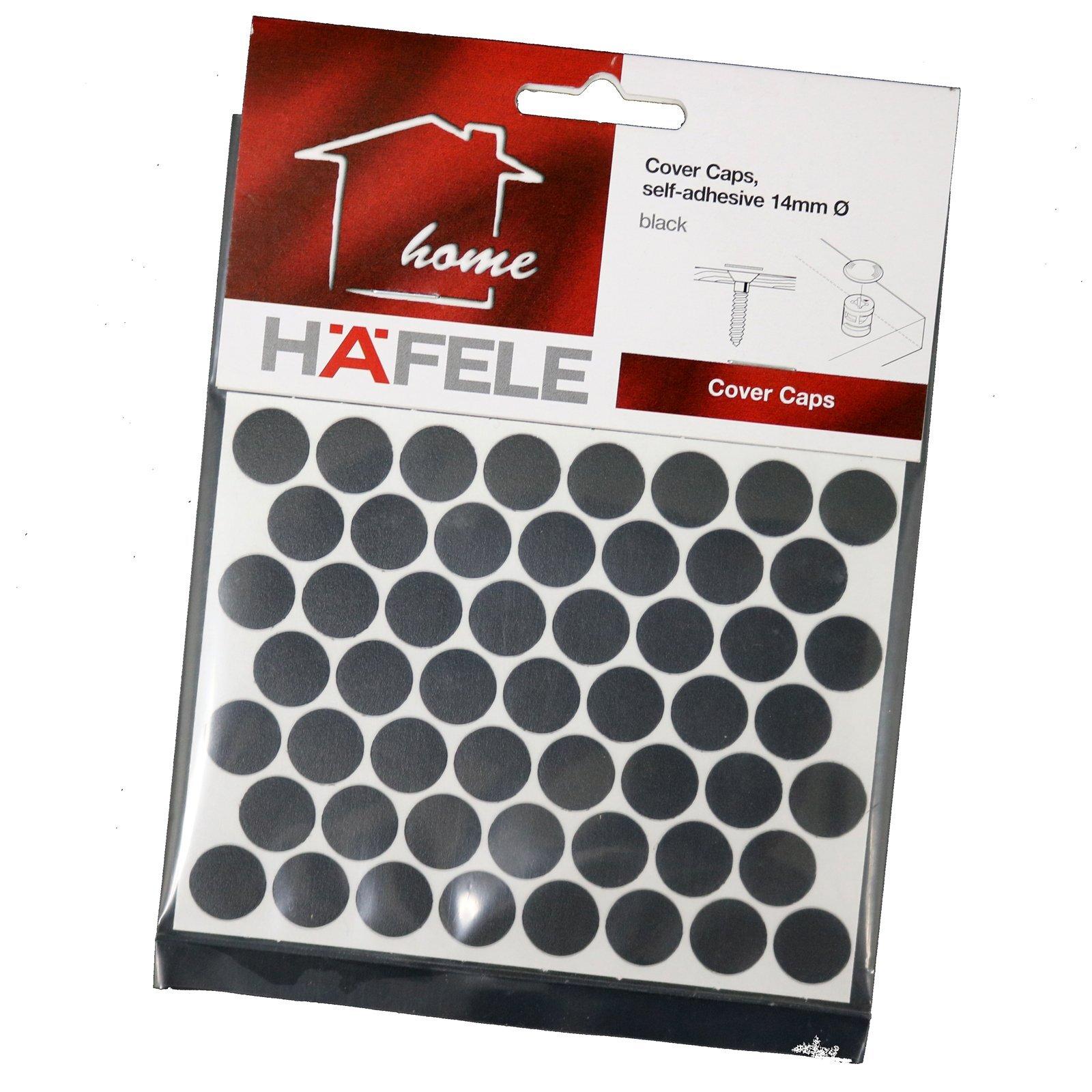 Hafele 14mm Black Self-Adhesive Cover Caps - 52 Pack