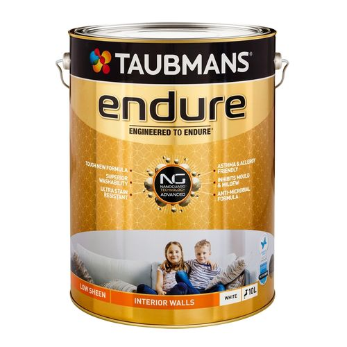 Taubmans Endure Low Sheen White Interior Wall Paint - 10L
