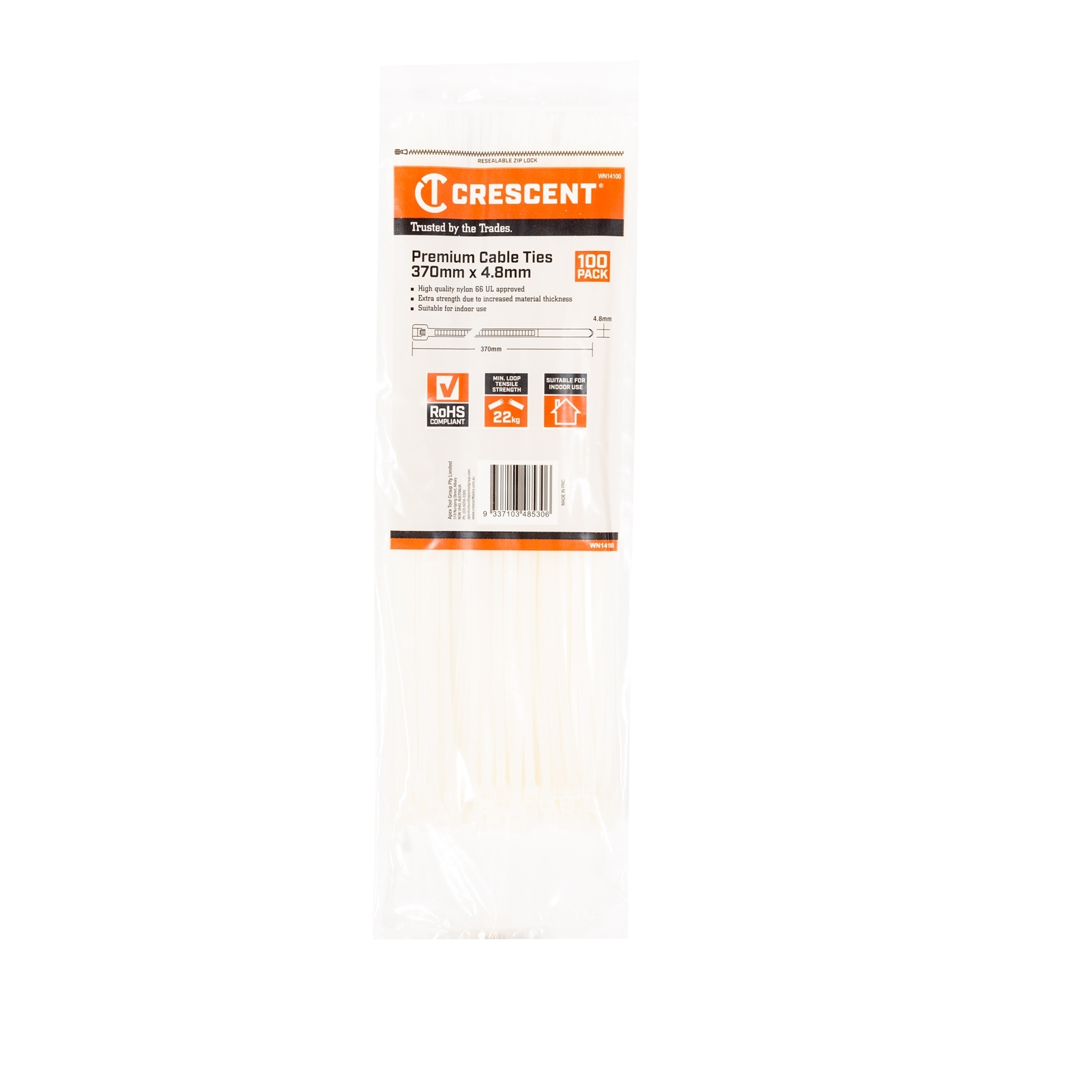 CRESCENT 100 Pk. 370mm x 4.8mm Natural Cable Ties