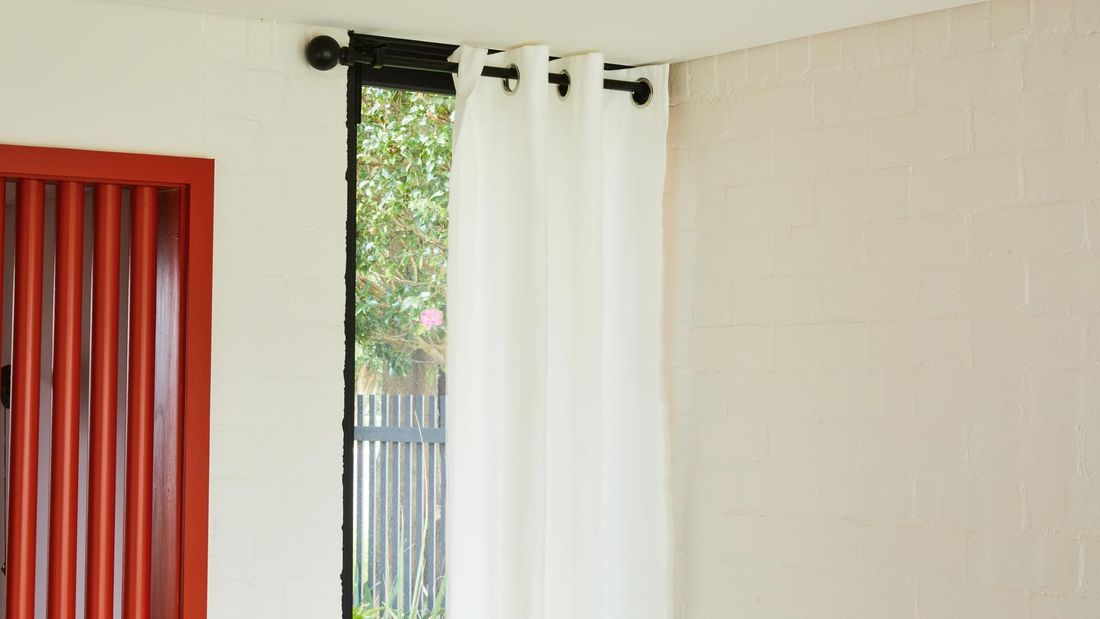 Curtain hanging on a curtain rod