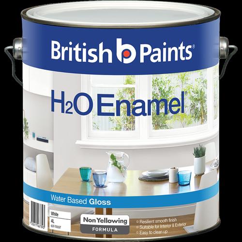 British Paints 4L H2O Gloss White Enamel Paint