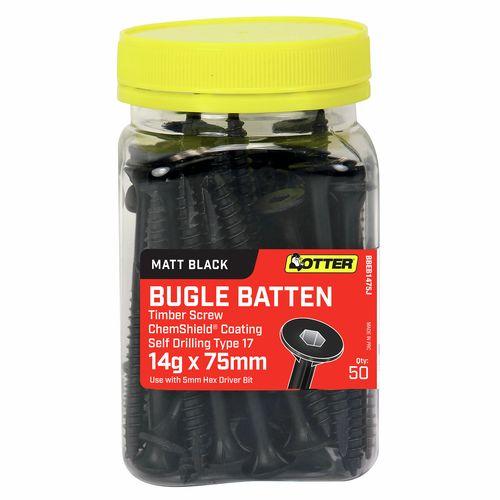 Otter 14g x 75mm Matt Black Bugle Batten Screws - 50 Pack