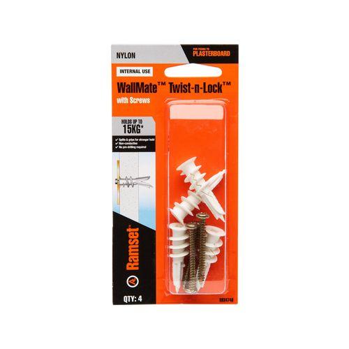 Ramset Wallmate Twist N Lock - 4 Pack