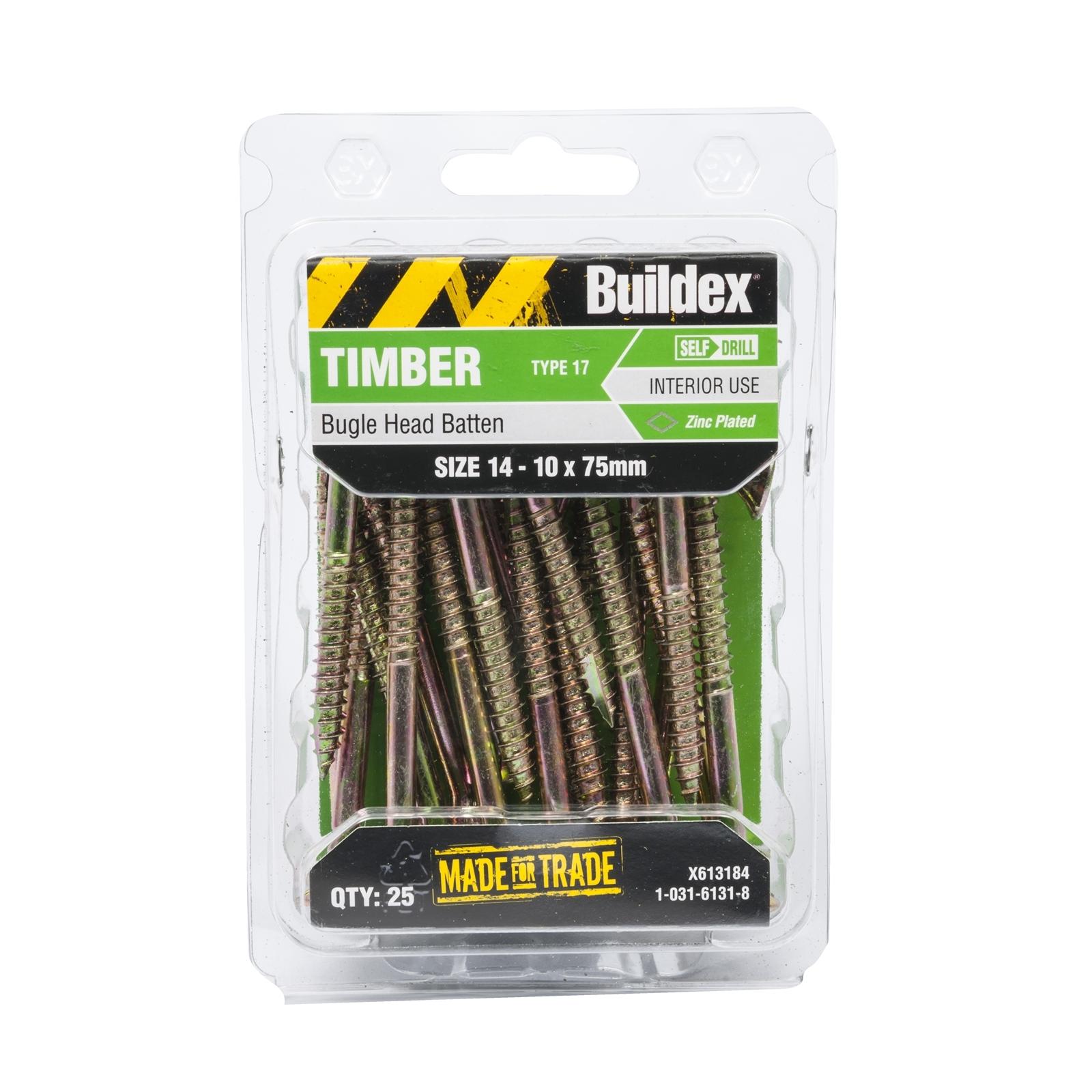 Buildex 14-10 x 75mm Zinc Plated Bugle Head Batten Timber Screws - 25 Pack