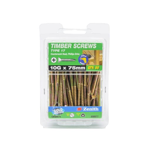 Zenith 10G x 75mm Gold Passivated Type 17 Countersunk Head Timber Screws - 50 Pack