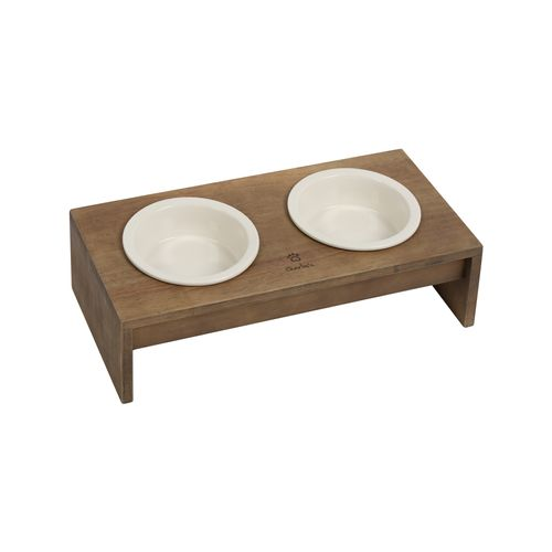 Charlie's Pet Raised Wooden Dual Pet Feeder with Porcelain Bowls - Natural Brown Feeder