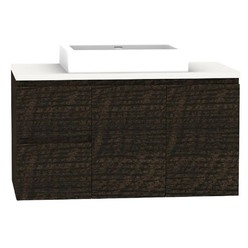Forme 900mm Mont Albert Wall Hung Vanity With Blanc Stone Top And Comet Basin - LH Drawers - Dark Chocolate