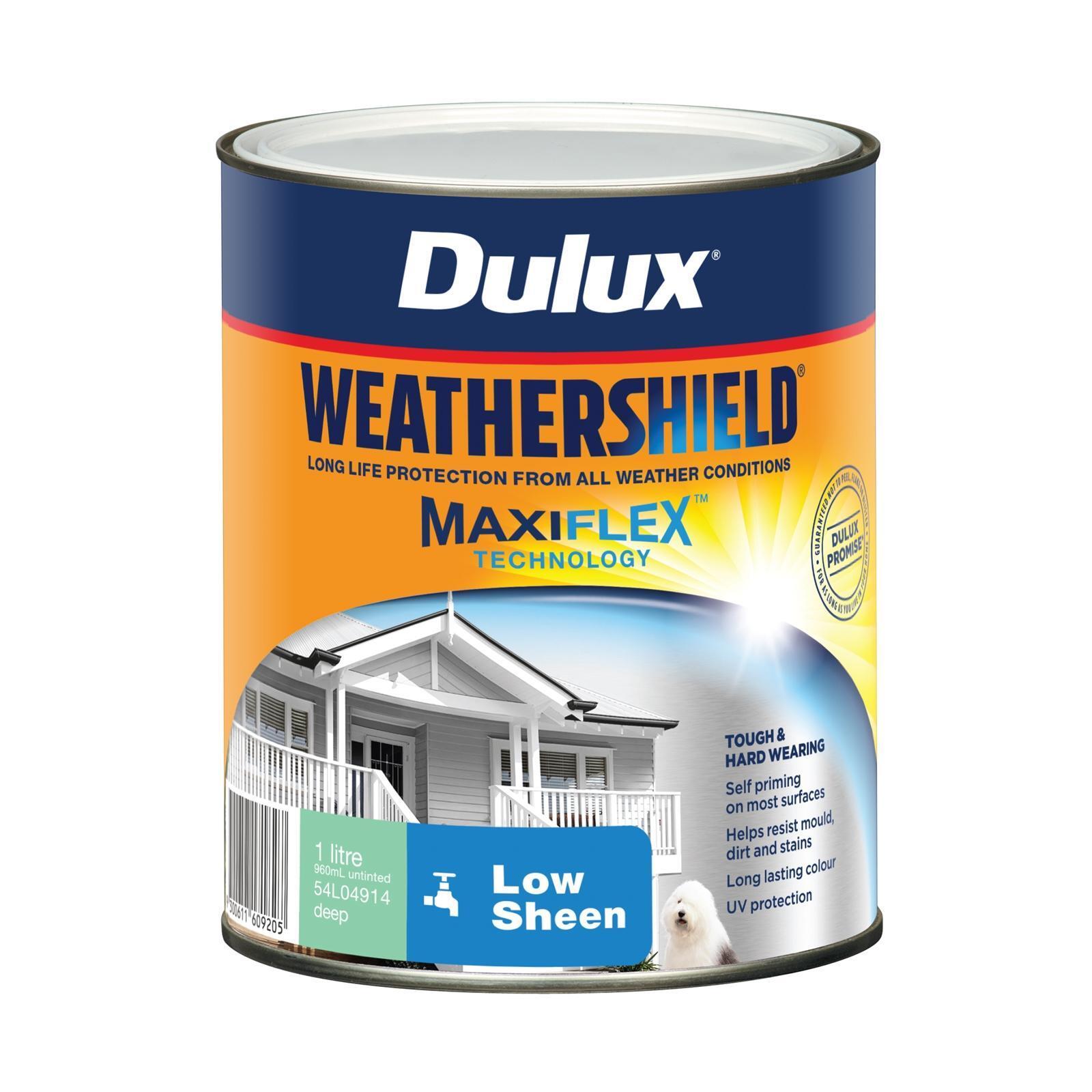 Dulux 1L Exterior Paint Weathershield Low Sheen Deep