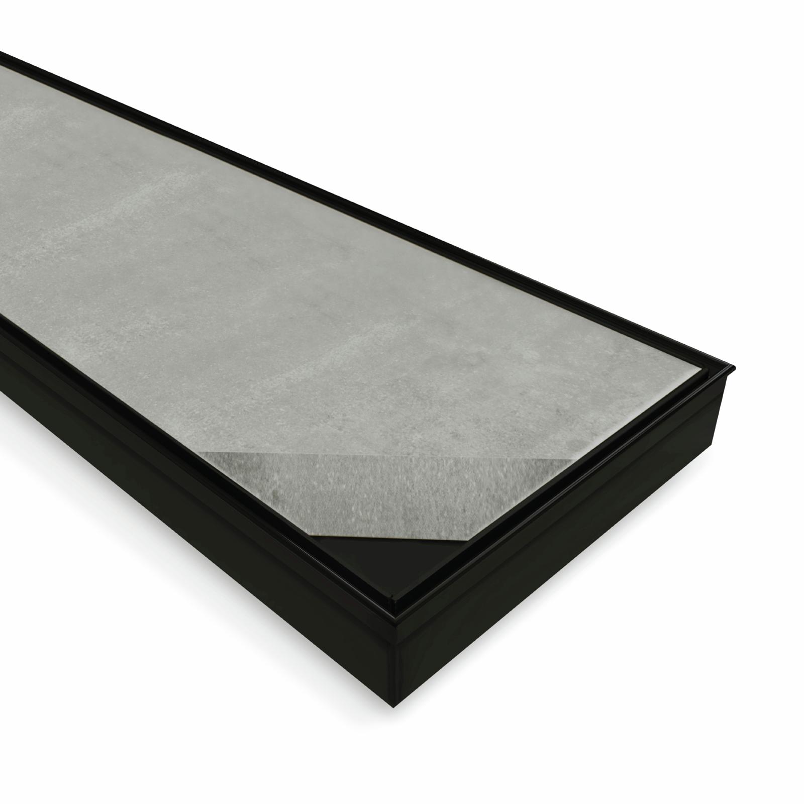 Black Satin Stainless Steel – Tile Insert 800×100 Floor Waste