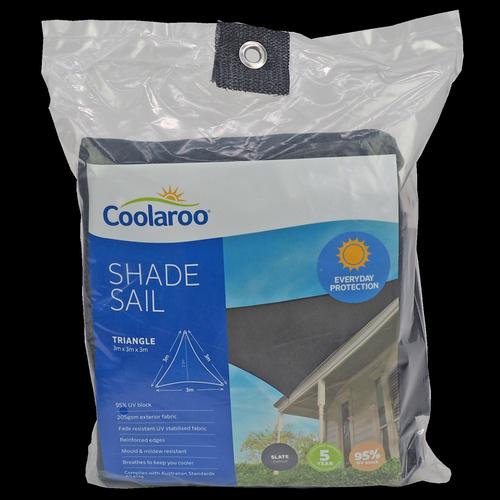 Coolaroo 3.0m Slate Triangle Everyday Shade Sail