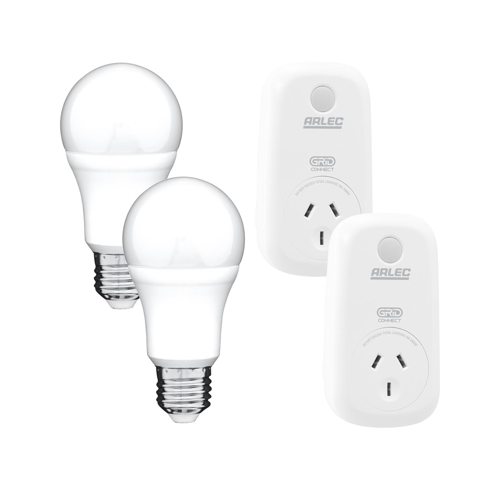 Arlec Smart Starter Kit With Grid Connect - 2x Smart A60 ES LED Globes And 2x Smart Plug In Sockets