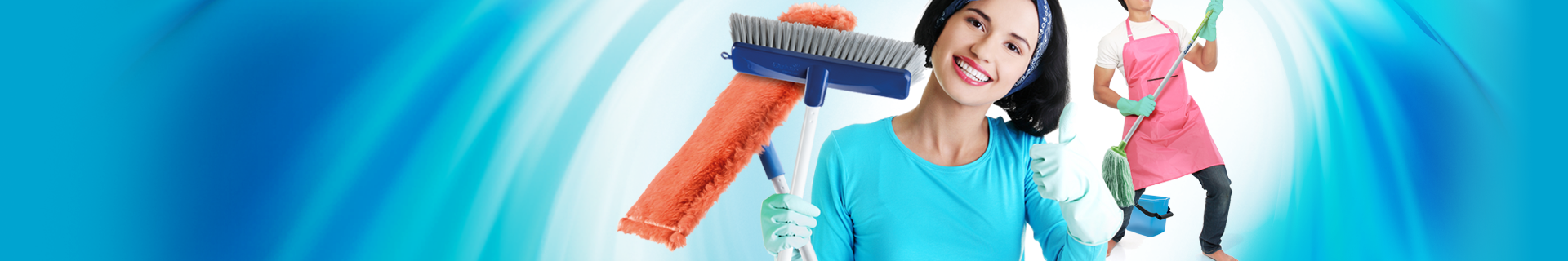 Woman holding Oates broom and mop