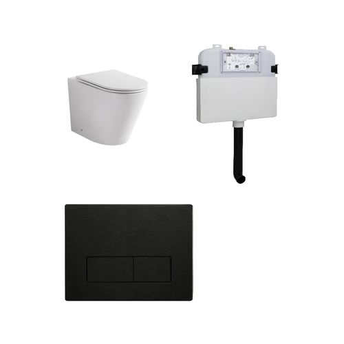 Zumi Java Concealed Cistern With Square Stainless Steel Gun Metal Flush Plates And Pan