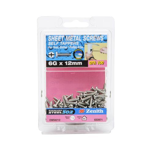 Zenith 6G x 12mm Stainless Steel Pan Head Sheet Metal Screws - 100 Pack