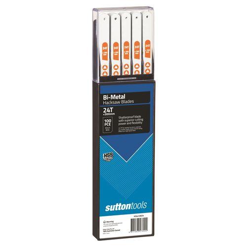 "Sutton Tools 12"" 300 x 12.7 x 0.62mm 24T Bi Metal Hacksaw Blade - 100 Pack"
