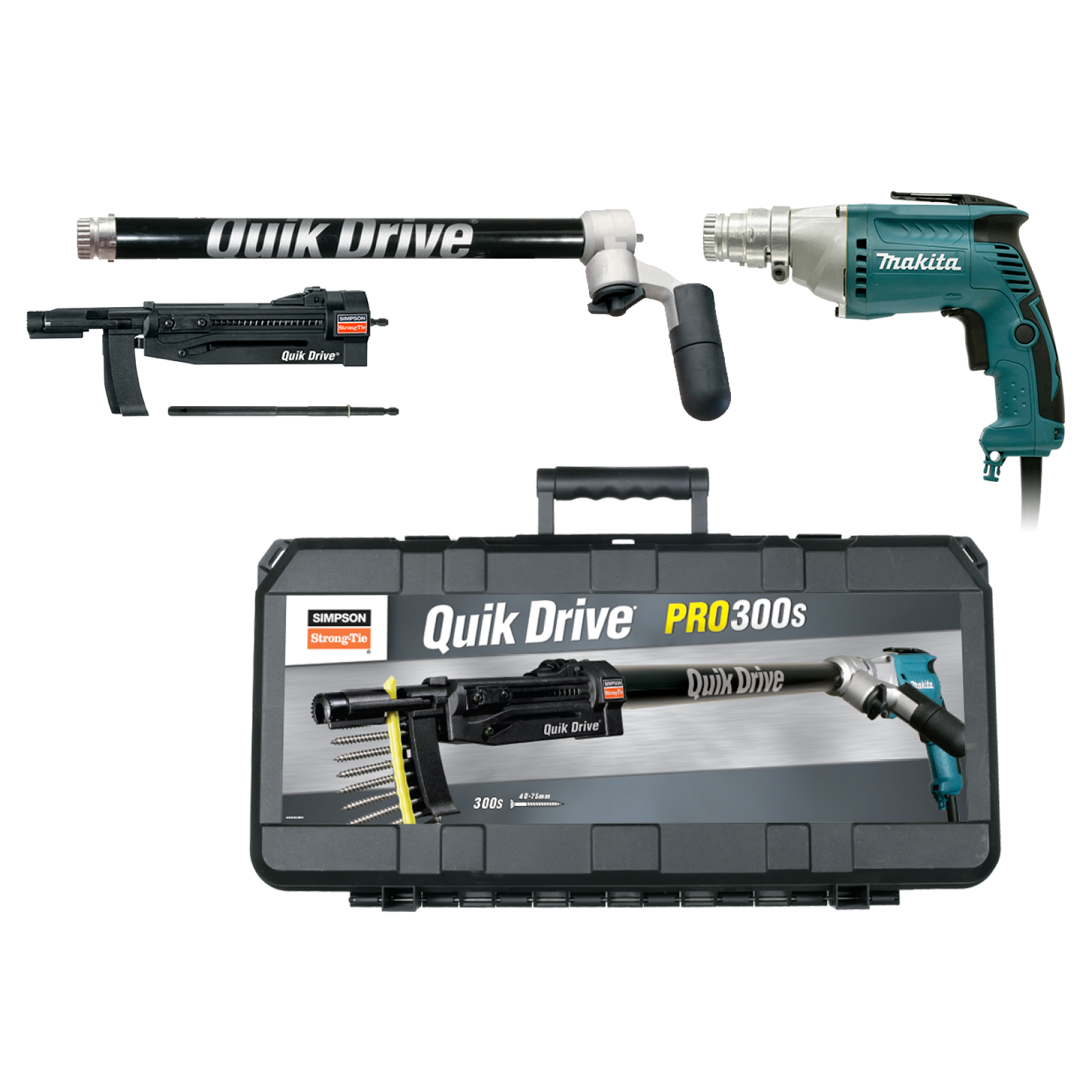 Simpson Strong-Tie Quik Drive PRO300 Auto-Feed Screw Driving System With Makita Screw Gun