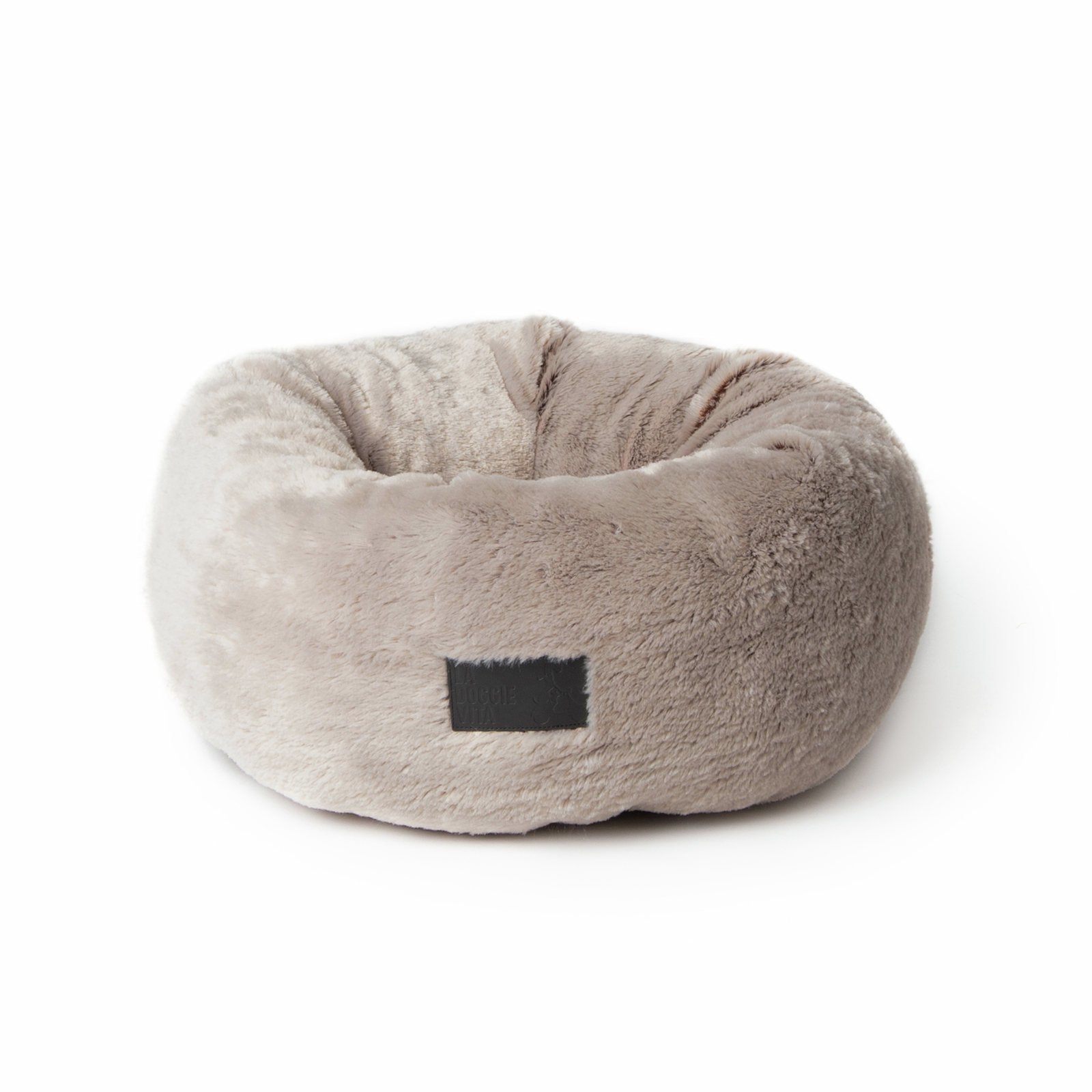 La Doggie Vita Two Tone Taupe Plush Dog Donut Bed