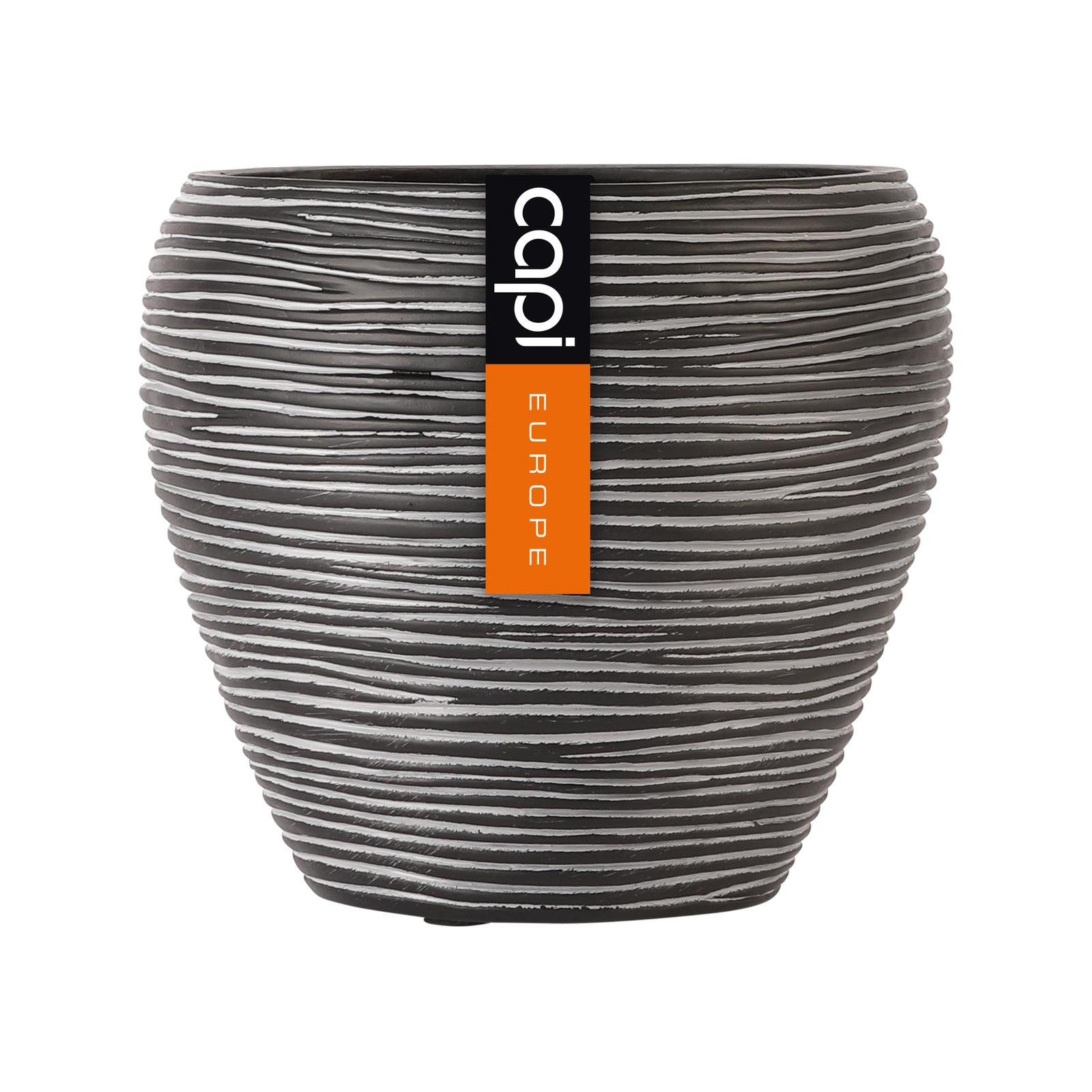 Capi 15 x 13cm Black Rib Round Vase