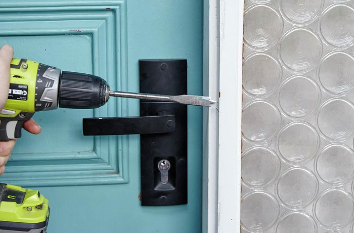 DIY Step Image - How to install a security door . Blob storage upload.