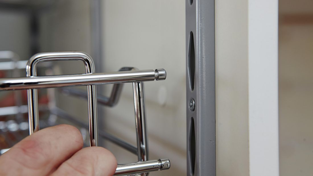 DIY Step Image - How to install blind pull-out baskets for cabinets. Blob storage upload.