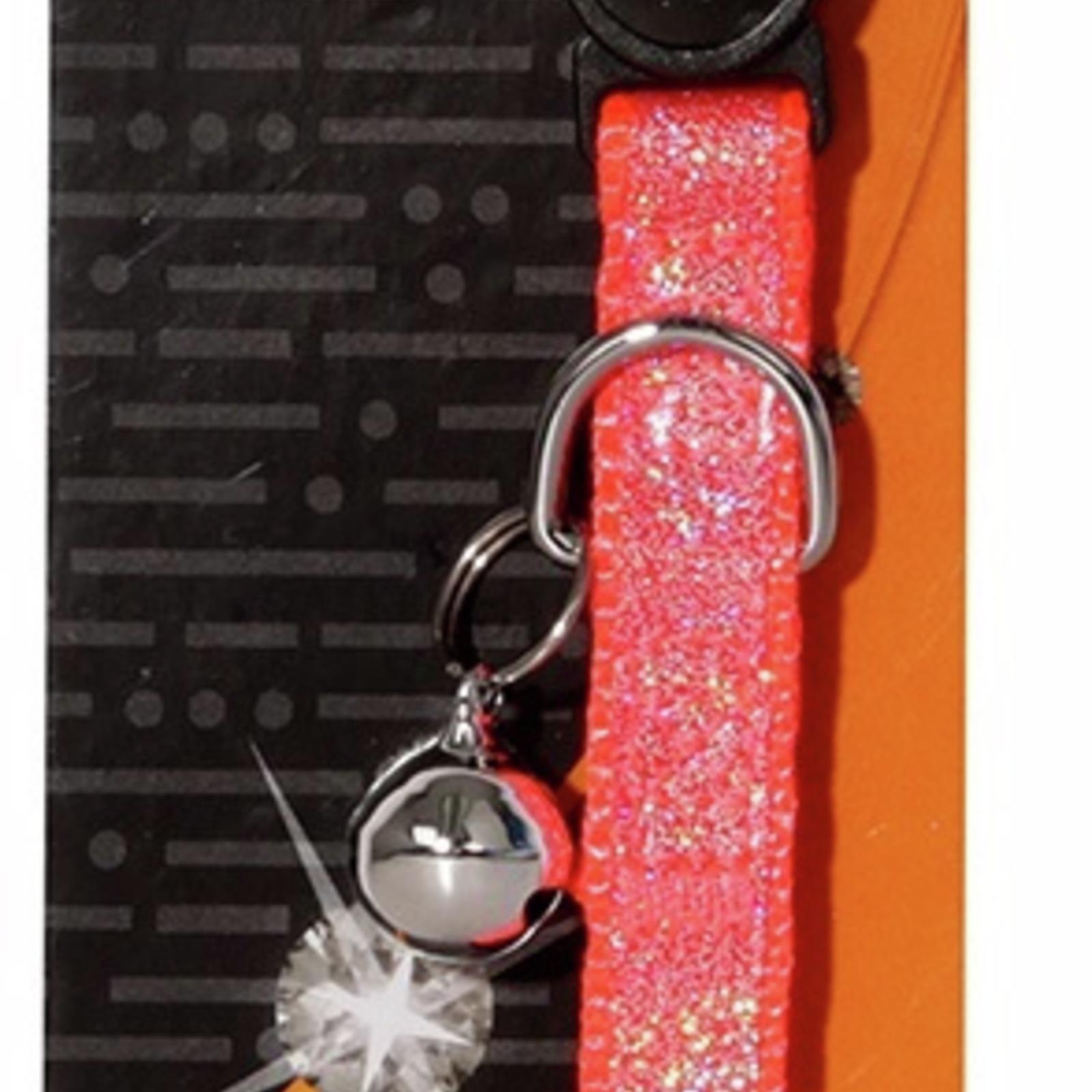Cat Collar Orange Bling Sparkle with Breakaway Clip - 30cm x 10mm (Pet One)