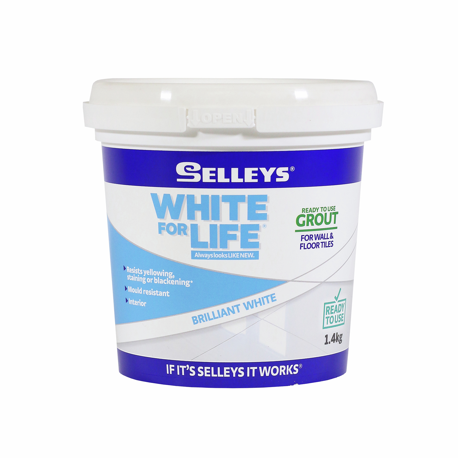 Selleys 1.4kg Brilliant White For Life Grout Ready To Use