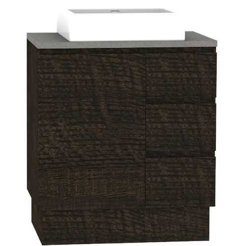 Forme 750mm Mont Albert Freestanding Vanity With Cement Stone Top And Comet Basin - RH Drawers - Dark Chocolate