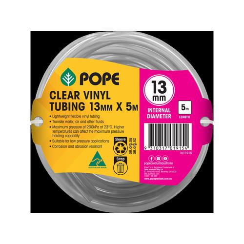 Pope 13mm x 5m Clear Vinyl Tubing