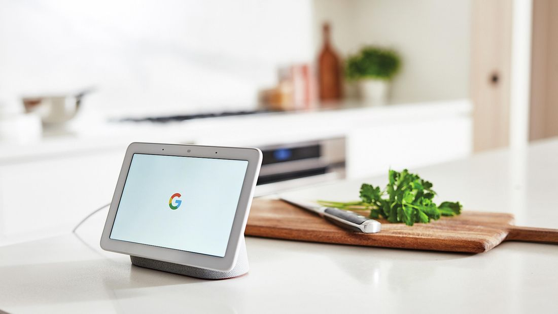 White iPad in a kitchen.