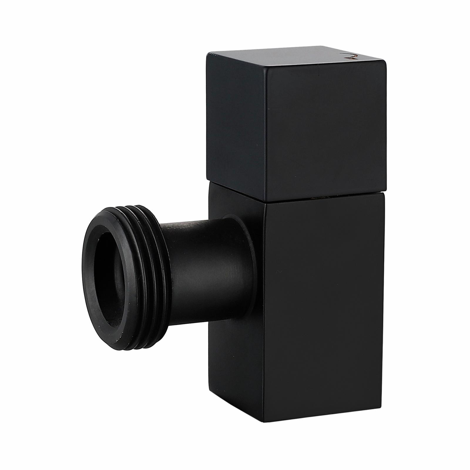 Kinetic 20mm Matte Black Brass Square Washing Machine Cock