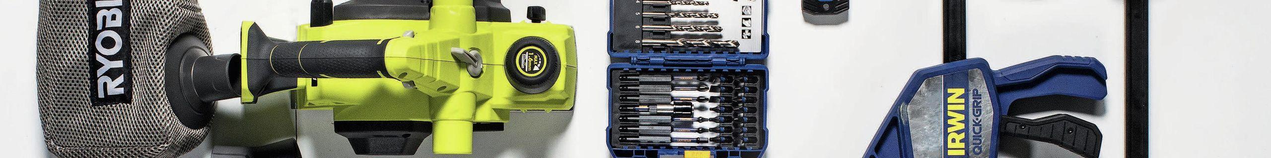 Power tools - Hand tools - Safety glasses - Flatlay - Bunnings magazine - Medium - Rotated - Ryobi - Irwin - Makita