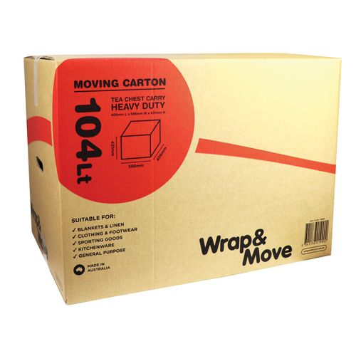 Wrap & Move 431 x 406 x 596mm 104L Heavy Duty Tea Chest Carry Moving Carton