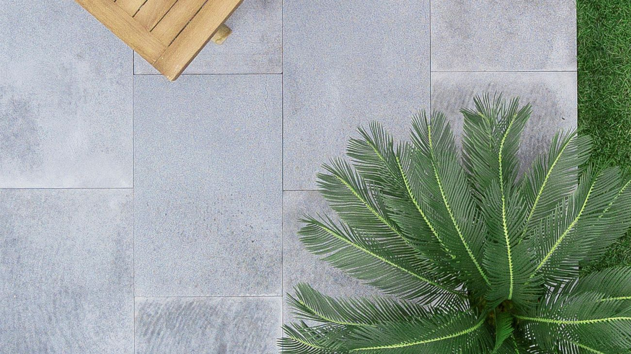 Grey tile with timber bench