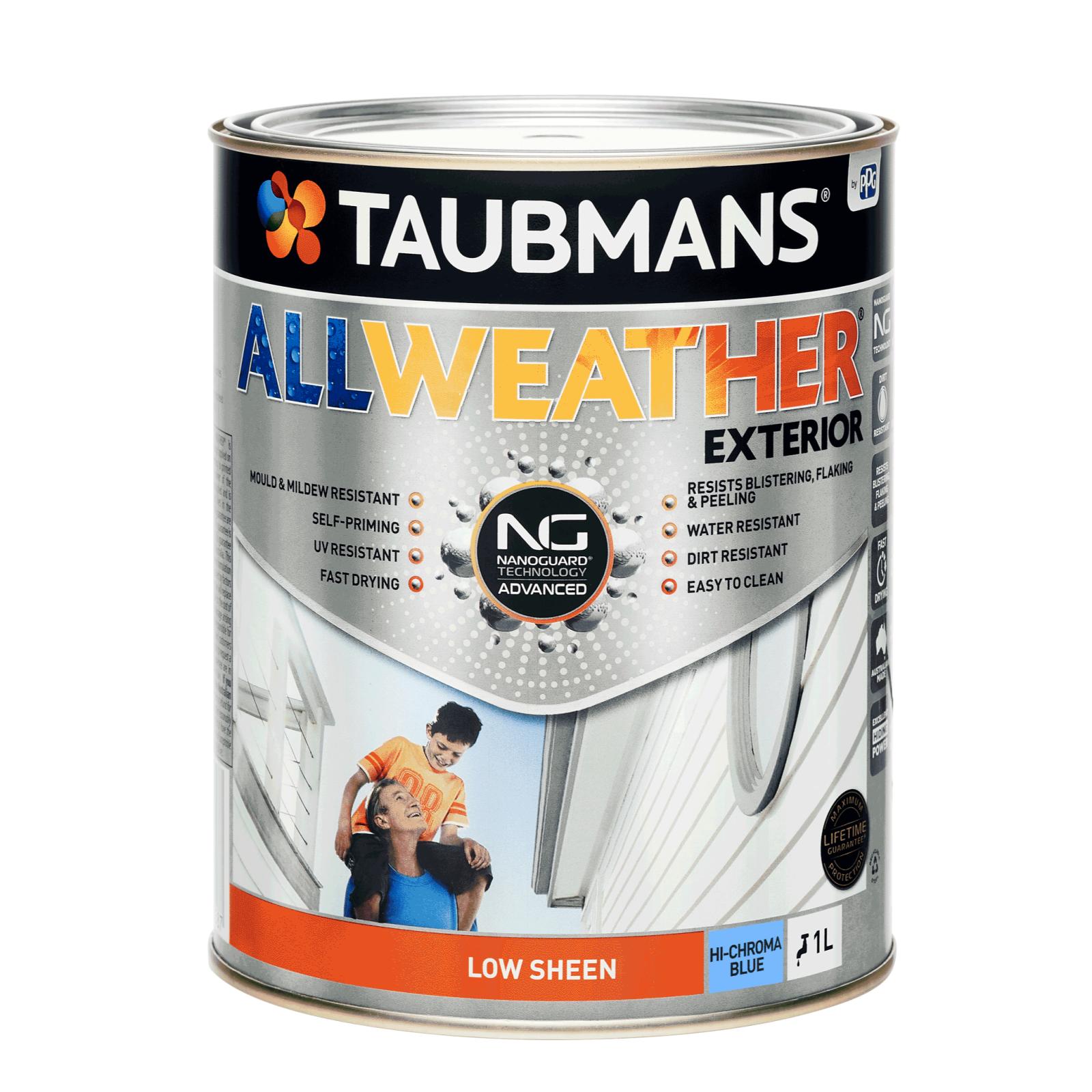Taubmans 1L Hi C Blue Low Sheen All Weather Exterior Paint