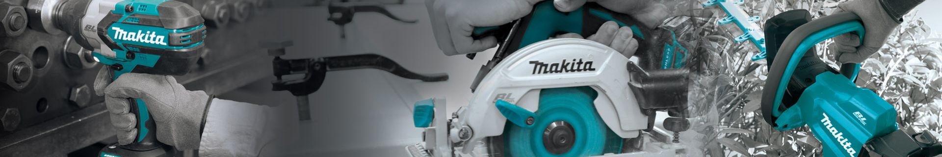 Makita drill, saw and hedge trimmer.