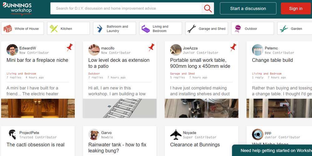 Screenshot of workshop online discussion board.