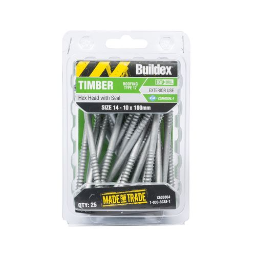 Buildex 14 - 10 x 100mm Climaseal Hex Head With Seal Timber Screws - 25 Pack